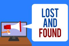 Text sign showing Lost And Found. Conceptual photo Place where you can find forgotten things Search service Man holding Megaphone