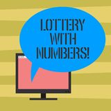 Text sign showing Lottery With Numbers. Conceptual photo game of chance in which showing buy numbered tickets Mounted. Computer Monitor Blank Screen with Oval royalty free illustration