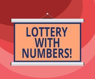 Text sign showing Lottery With Numbers. Conceptual photo game of chance in which showing buy numbered tickets Blank. Portable Wall Hanged Projection Screen for royalty free illustration