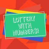 Text sign showing Lottery With Numbers. Conceptual photo game of chance in which showing buy numbered tickets Pile of Blank. Rectangular Outlined Different stock illustration