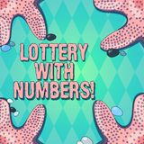 Text sign showing Lottery With Numbers. Conceptual photo game of chance in which showing buy numbered tickets Starfish photo on. Four Corners with Colorful stock illustration