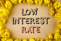 Text sign showing Low Interest Rate. Conceptual photo Manage money wisely pay lesser rates save higher written on plain background. Text sign showing Low royalty free stock photo