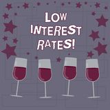 Text sign showing Low Interest Rates. Conceptual photo meant to stimulate economic growth making it cheaper Filled Cocktail Wine. Glasses with Scattered Stars stock illustration