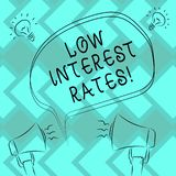 Text sign showing Low Interest Rates. Conceptual photo meant to stimulate economic growth making it cheaper Freehand Outline. Sketch of Blank Speech Bubble stock illustration