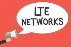 Text sign showing Lte Networks. Conceptual photo Fastest network connection available for wireless communication Man holding megap. Hone loudspeaker speech Royalty Free Illustration