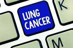 Text sign showing Lung Cancer. Conceptual photo Uncontrolled growth of abnormal cells that start in the lungs.  stock images