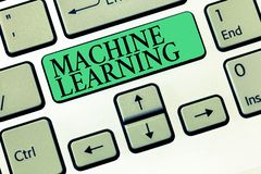 Text sign showing Machine Learning. Conceptual photo give computers the ability to be taught with data.  stock photos