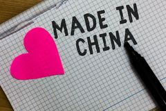 Text sign showing Made In China. Conceptual photo Wholesale Industry Marketplace Global Trade Asian Commerce Squared notebook pape. R ripped sheets Marker royalty free stock image