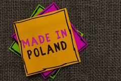 Text sign showing Made In Poland. Conceptual photo A product or something that is manufactured in Poland Paper notes Important rem. Inders Communicate ideas stock photos