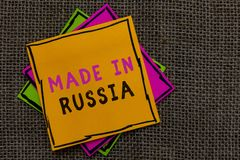 Text sign showing Made In Russia. Conceptual photo A product or something that is manufactured in Russia Paper notes Important rem. Inders Communicate ideas royalty free stock images