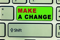 Text sign showing Make A Change. Conceptual photo Create a Difference Alteration Have an Effect Metamorphose.  royalty free stock photo