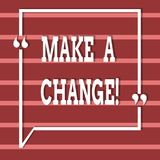 Text sign showing Make A Change. Conceptual photo New Goals Opportunities Different Approach. Text sign showing Make A Change. Business photo text New Goals vector illustration