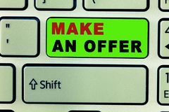 Text sign showing Make An Offer. Conceptual photo Proposal Bring up Volunteer Proffer Bestow Bid Grant.  stock images