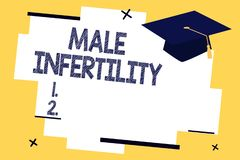Text sign showing Male Infertility. Conceptual photo Inability of a male to cause pregnancy in a fertile.  stock illustration