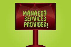 Free Text Sign Showing Managed Services Provider. Conceptual Photo IT Service Company That Offers Service To End User Blank Lamp Stock Image - 136527081