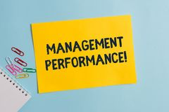 Text sign showing Management Perforanalysisce. Conceptual photo feedback on Managerial Skills and Competencies Plain. Text sign showing Management royalty free stock image