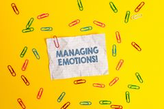 Text sign showing Managing Emotions. Conceptual photo ability be open to feelings and modulate them in oneself Blank. Text sign showing Managing Emotions stock photography