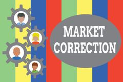 Text sign showing Market Correction. Conceptual photo When prices fall 10 percent from the 52 week high Gearshaped. Text sign showing Market Correction. Business vector illustration