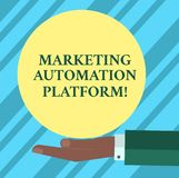 Text sign showing Marketing Automation Platform. Conceptual photo automate repetitive task related to marketing Hu. Analysis Hand in Suit Offering Blank Solid vector illustration