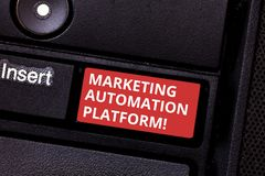 Text sign showing Marketing Automation Platform. Conceptual photo automate repetitive task related to marketing Keyboard. Key Intention to create computer stock photos