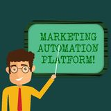 Text sign showing Marketing Automation Platform. Conceptual photo automate repetitive task related to marketing Man. Standing Holding Stick Pointing to Wall royalty free illustration