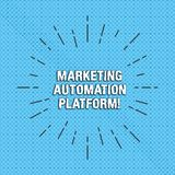 Text sign showing Marketing Automation Platform. Conceptual photo automate repetitive task related to marketing Thin. Beam Lines Spreading out Dash of Sunburst royalty free illustration