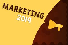 Text sign showing Marketing 2019. Conceptual photo Commercial trends for 2019 New Year promotional event.  stock illustration