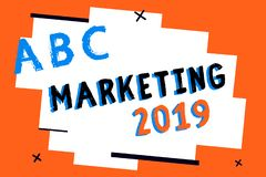 Text sign showing Marketing 2019. Conceptual photo Commercial trends for 2019 New Year promotional event.  royalty free illustration