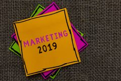 Text sign showing Marketing 2019. Conceptual photo Commercial trends for 2019 New Year promotional event Paper notes Important rem. Inders Communicate ideas stock image