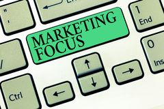 Text sign showing Marketing Focus. Conceptual photo understanding your customers and thier needs using stats.  stock photography