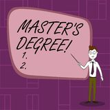 Text sign showing Master S Degree. Conceptual photo academic degree awarded by universities upon high school Confident. Text sign showing Master S Degree vector illustration