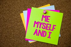 Text sign showing Me Myself And I. Conceptual photo selfish self-independent Taking responsibility of actions Postcards various co. Lour brown background lovely Royalty Free Stock Images