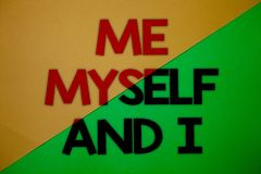 Text sign showing Me Myself And I. Conceptual photo selfish self-independent Taking responsibility of actions Yellow green split b. Ackground message thoughts Royalty Free Stock Images