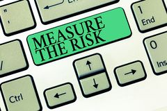 Text sign showing Measure The Risk. Conceptual photo determine degree of danger based on impact factors.  stock photography
