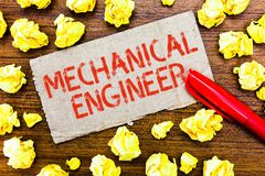 Text sign showing Mechanical Engineer. Conceptual photo Applied Engineering Discipline for Mechanical System.  stock image