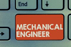 Text sign showing Mechanical Engineer. Conceptual photo Applied Engineering Discipline for Mechanical System.  royalty free stock image