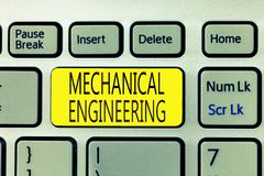 Text sign showing Mechanical Engineering. Conceptual photo deals with Design Manufacture Use of Machines.  stock image