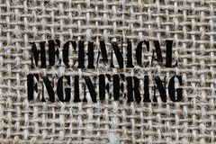 Text sign showing Mechanical Engineering. Conceptual photo deals with Design Manufacture Use of Machines.  royalty free stock photo