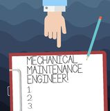 Text sign showing Mechanical Maintenance Engineer. Conceptual photo Responsible for machines efficiency Hu analysis Hand. Pointing Down to Clipboard with Blank vector illustration
