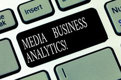 Text sign showing Media Business Analytics. Conceptual photo Collecting and evaluating data from social media Keyboard key. Intention to create computer message stock photography