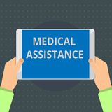 Text sign showing Medical Assistance. Conceptual photo provides health care coverage for showing with low income.  royalty free stock photos