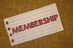 Text sign showing Membership. Conceptual photos Being member Part of a group or team Join an organizationNotebook page ideas messa. Text sign showing Membership royalty free stock images