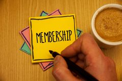 Text sign showing Membership. Conceptual photos Being member Part of a group or team Join an organizationMan creating yellow pink. Text sign showing Membership royalty free stock photography
