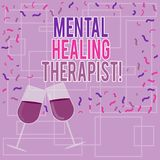Text sign showing Mental Healing Therapist. Conceptual photo Counseling or treating clients with mental disorder Filled. Wine Glass Toasting for Celebration vector illustration