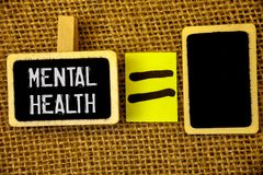 Text sign showing Mental Health. Conceptual photos Psychological and Emotional Condition Wellbeing of a person. Text sign showing Mental Health. Conceptual photo stock photos