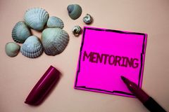 Text sign showing Mentoring. Conceptual photo To give advice or support to a younger less experienced person Ink marker open cap s. Mall shells handwrittern royalty free stock images