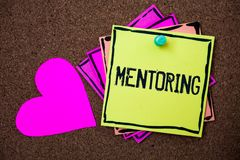 Text sign showing Mentoring. Conceptual photo To give advice or support to a younger less experienced person Multi colour small st. Icky boarder notice board royalty free stock photos