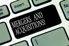 Text sign showing Mergers And Acquisitions. Conceptual photo Refers to the consolidation of companies or assets Keyboard key. Intention to create computer royalty free stock photography