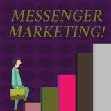 Text sign showing Messenger Marketing. Conceptual photo act of marketing to your customers using a messaging app stock illustration