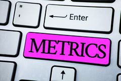 Text sign showing Metrics. Conceptual photo Method of measuring something Study poetic meters Set of numbers written on Pink Key B. Text sign showing Metrics Royalty Free Stock Images